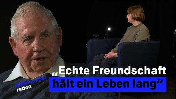 """Zitat: """"Echte Freundschaft hält ein Leben lang"""". Das Bild zeigt einen älteren Herrn und eine Frau in einem Talk-Studio."""