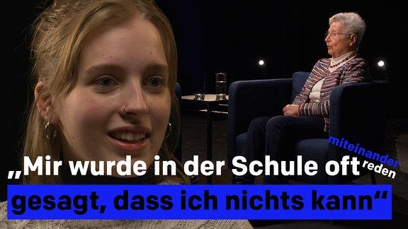 """Zitatgrafik: """"Mir wurde in der Schule oft gesagt, dass ich nichts kann"""". Rechts im Vordergrund ist das Gesicht einer jungen Frau und im Hintergrund  eine ältere Dame zu sehen."""