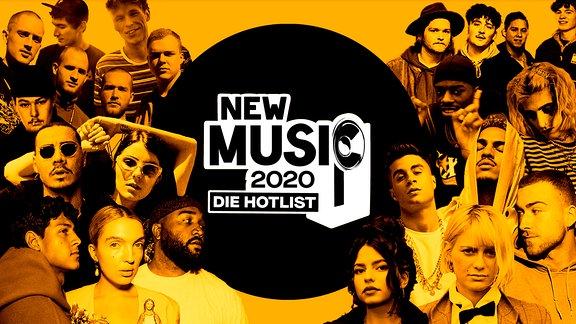Die Hotlist des NEW MUSIC AWARD, v.l.n.r.: Bruckner, Provinz, 102 Boyz, Elias, wavvyboi, Majan, Badchieff, Apache 207, bühlow, Jamule, Eli, Emilio, Mia Morgan, Nina Chuba, Alli Neumann.