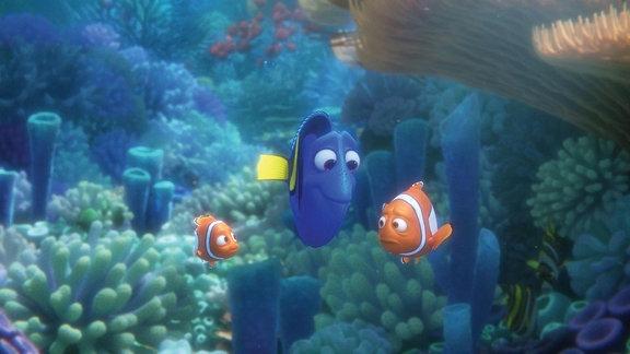 Clown-Fisch Nemo, Palettenfisch-Dame Dorie und Clownfisch-Papa Marlin