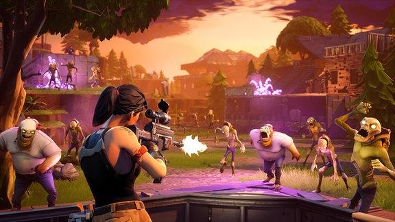 Eine animierte Frau schießt auf Zombies.
