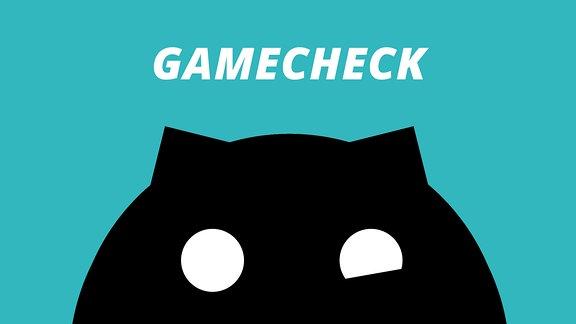 """Ein schwarzes Sputnikon vor türkisem Hintergrund mit der Aufschrift """"Gamecheck"""""""