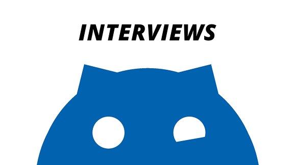 """Ein schwarzes Sputnikon vor weißem Hintergrund mit der Aufschrift """"Interviews"""""""
