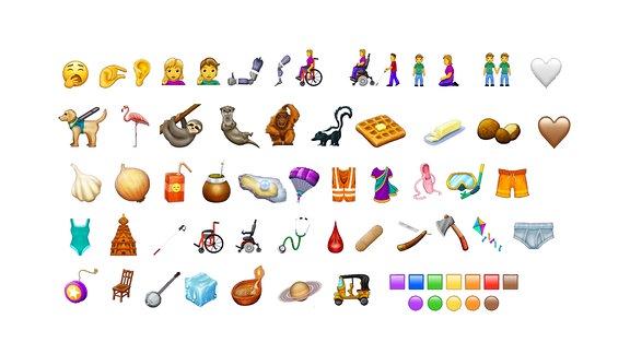 Eine Auswahl der 230 neuen Emojis.