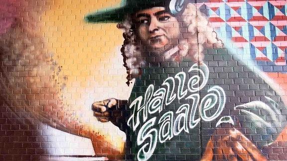 Händel am DJ Pult. Ein Graffiti von Sebastian Höger.