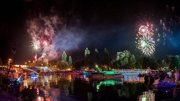 Halle/Saale, Feuerwerk zum Laternenfest 2016