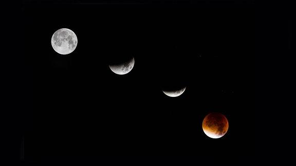 Phasen einer Mondfinsternis mit Blutmond