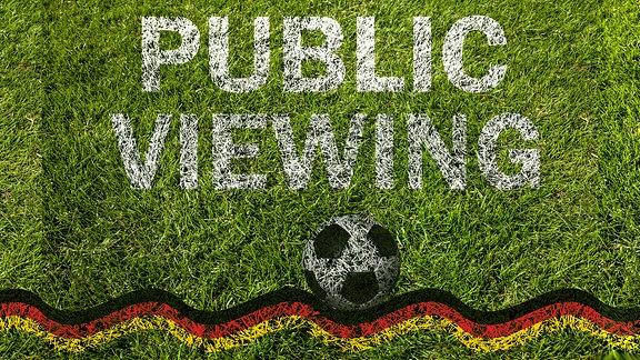 Public Viewing, Rasen mit Schriftzug Public Viewing, Fußball und schwarz/rot/goldenem Band