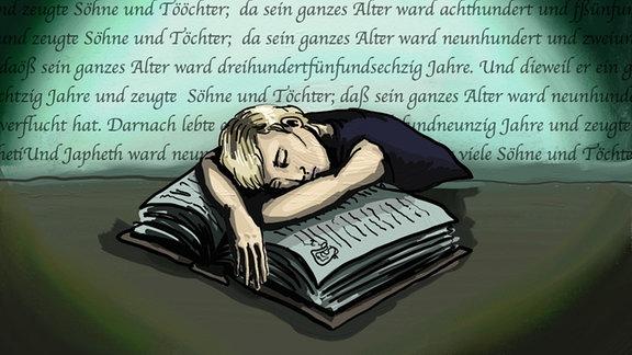 Zeichnung: Eine junge Frau ist über der Bibel-Lektüre eingeschlafen
