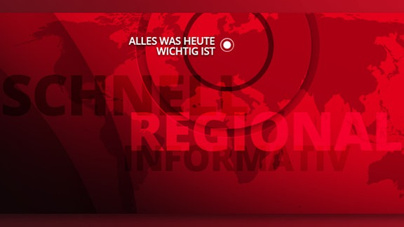 """Rote Weltkarte mit """"Alles, was heute wichtig ist"""" Schriftzug und Standortpunkt Halle."""