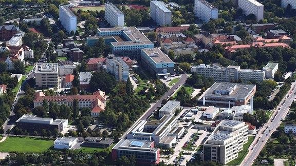 Luftbild des Campus der medizinischen Fakultät der Universität Magdeburg